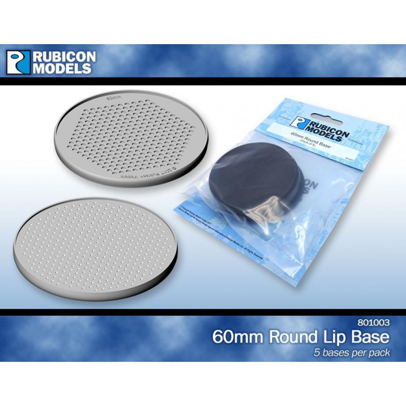 801003 - 60mm Round Bases- 1 Pack of 5 Bases