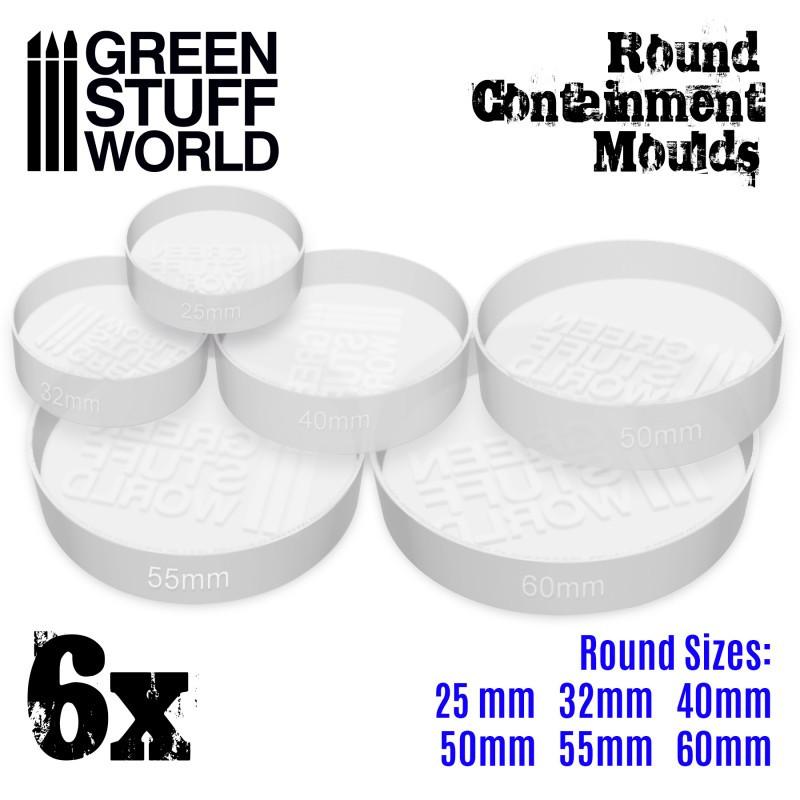 6x Moules Endiguement blancs translucides pour Socles - Ronds